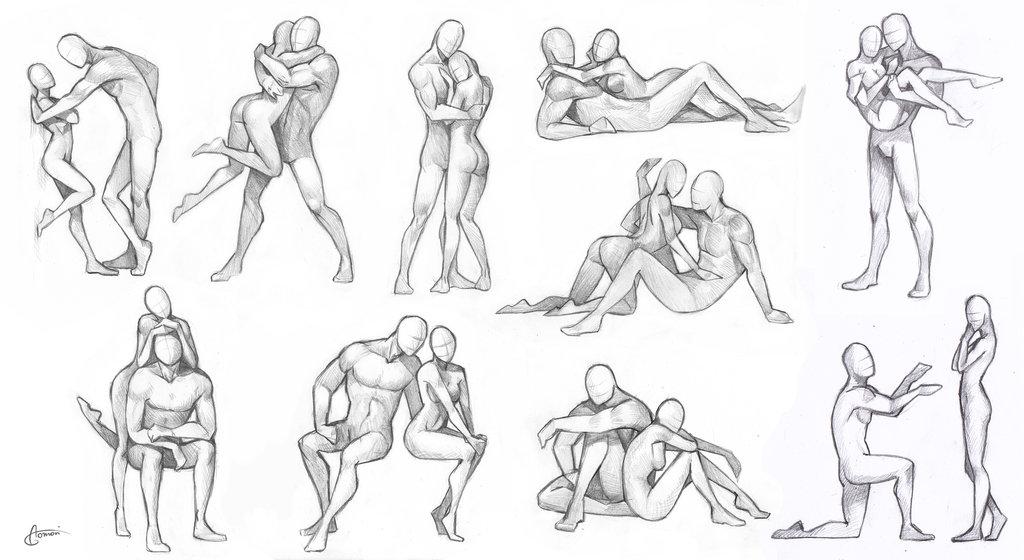 comment dessiner 2 personnes qui s'embrassent